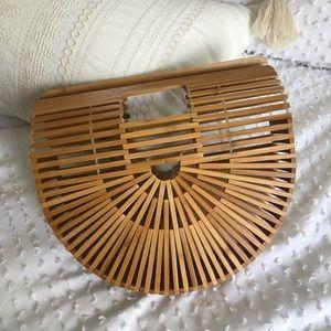 Handbags - Bamboo wooden wicker handbag beach bag